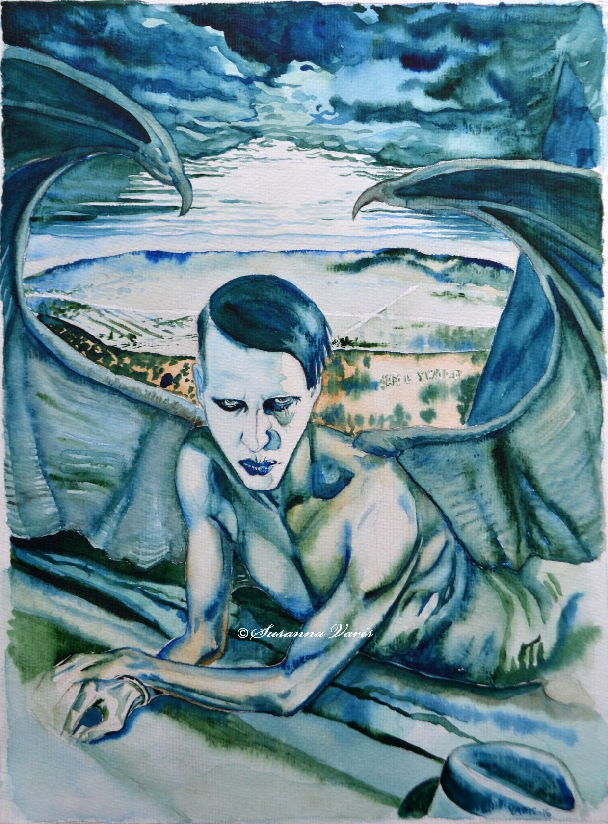 Mephistofeles of Los Angeles water colour 50 text